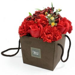 red roses and carnations soap bouquet