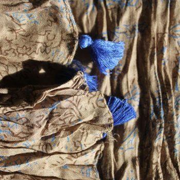blue tassel scarf