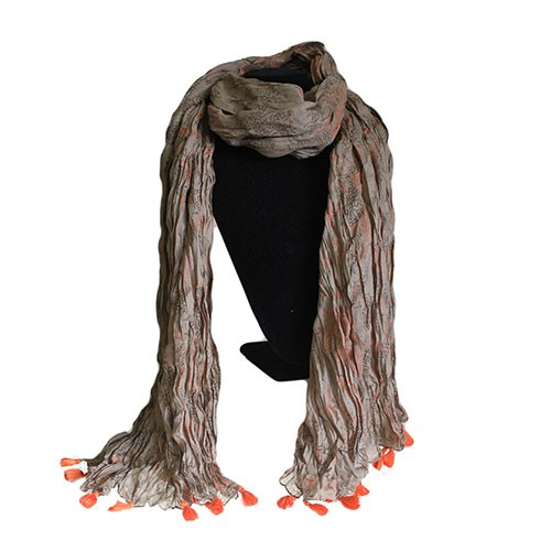 orange tassel scarf