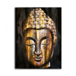 buddha golden wood oil painting