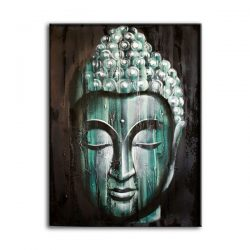 buddha green wood oil painting