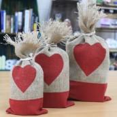 love heart jute gift bags