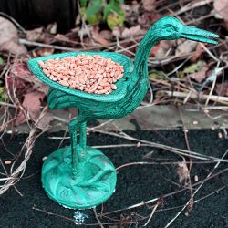 stork virdigris cast iron bird feeder