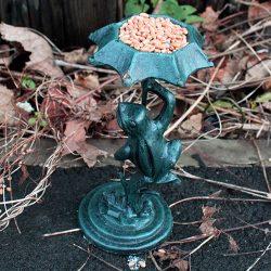 frog virdigris bird feeder