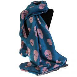 blue pink skull scarf