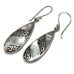 silver and shell tear drop