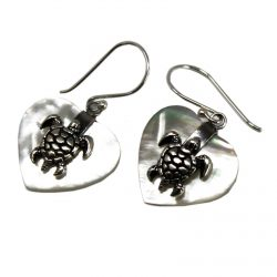 silver and shell sea turtle earrings