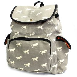 grey horses travelers backpack